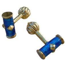 Tiffany & Co. Schlumberger 18K Gold And PAILLONNE` Enamel Cuff Links