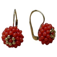Beautiful Coral Beads 18K Gold Earrings
