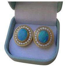 Gorgeous 18K Gold, Black Opal & Diamond Earrings, 44 Diamonds, 1.30 Ct. TDW.