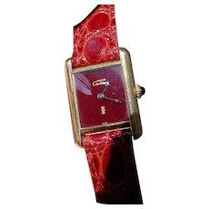 Vintage Ladies Cartier Tank Vermeil Case, Maroon Color Dial, Mechanical Movement.