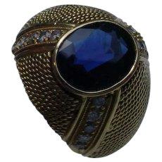 Gents Ring, 18K Gold, 3.35 Ct. Sapphire, Diamonds