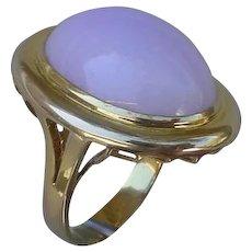 Light Lavender Jadeite 14K Gold Ring. 39 Carats