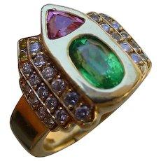 Beautiful 18K Gold Ring Set w/ 1 Carat Tsavorite, Pink Tourmaline & 35 Diamonds