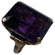 Vintage Retro 10K Gold Ring Set With 39 Carat Amethyst, Emerald Cut