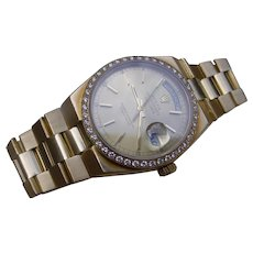 Solid Gold Rolex Day Date Oysterquartz Model 19018 With Diamond Bezel