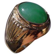 Vintage 14K Rose Gold Green Jadeite Ring