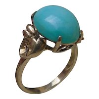 Vintage 14K Gold Hand Constructed Ring w/ 5 Carat Turquoise.
