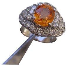 18K Gold Ring Set w/ 3.55 Carat Oval Spessartite Garnet. $6400 Retail.