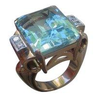 Outstanding 28 Carat Aquamarine Set In 18K Rose Gold & Platinum Ring w/ Diamonds
