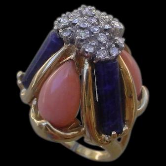 Gorgeous Coral & Lapis Set 14K Gold Ring w/Diamonds