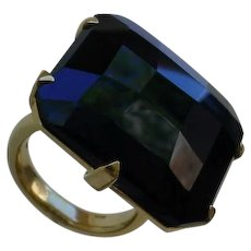 Italian 18K Gold Ring Set w/ Big Checkerboard Cut Black Onyx