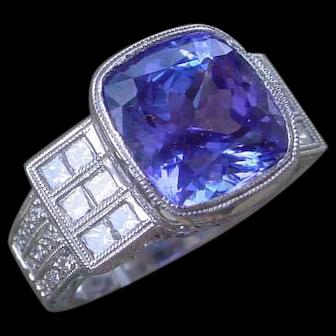 Awesome 6 Carat Tanzanite, 18K White Gold Ring w/ Diamonds
