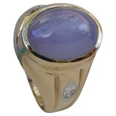 Gorgeous 14.7 Carat Blue Star Sapphire In 14K Gold Ring, 2 Marquise Diamonds