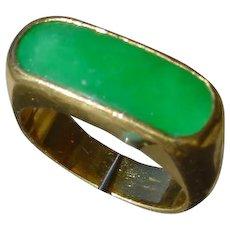 Vintage 24K Gold Saddle Ring w/ Green Jadeite