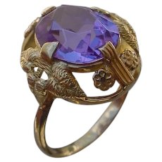 Dainty 18K Gold Ring Made In Soviet Union, Synthetic Alexandrite