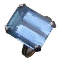 Beautiful 11 Carat Emerald Cut Aquamarine In 14K Rose Gold Ring.