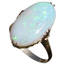 Outstanding 18K Gold, Hand Constructed Vintage Ring Set w/ 4.4 Carat Opal.