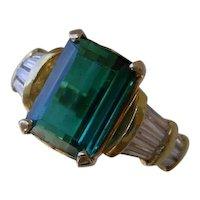 Beautiful 3.6 Carat Emerald Cut, Green Tourmaline Set w/ Baguette Diamonds, 18K Gold Ring.