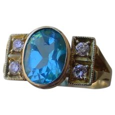 Vintage, Hand Made 14K Gold Ring, Oval 2.8 Ct. Blue Zircon, 4 Diamonds.
