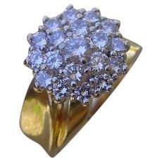 Ladies 14K Gold w/ 17 Diamond Cluster Ring, 1.20 Carat.
