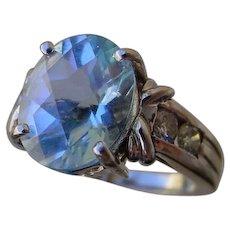 Beautiful 3.8 Carat Aquamarine Set In 14K White Gold, 4 Diamonds.
