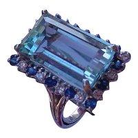 Beautiful 14K White Gold Ring Set w/ 9.7 Carat Emerald Cut Aquamarine, 13 Diamonds, 13 Sapphires.