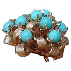 Colorful Ladies 14K Gold Ring w/ 10 Turquoise Gems.