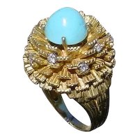 Gorgeous 18K Gold Ring Designed by Rudy Cherny, Turquoise And Diamonds Set.