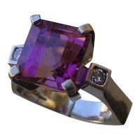 Beautiful 6.5 Carat Emerald Cut Pink Tourmaline Set In 18K White Gold Ring.