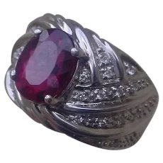 14K White gold Ring Set w/ 3.4 Carat Oval Rubellite & 28 Diamonds.