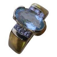 Beautiful 1.5 Carat Oval Cut Aquamarine Set In 14K Gold Ring w/ 6 Diamonds.