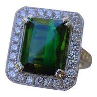 Beautiful 4 Carat Green Tourmaline In Halo Of Diamonds, 074 TCW.