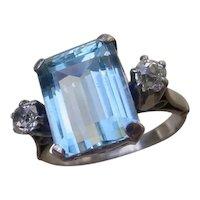 5.5 Carat Aquamarine & 2 Diamonds Set In 14K White Gold Ring.