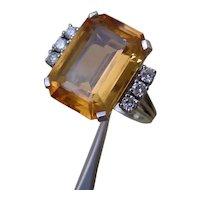 Beautiful 10.4 Carat Orange Topaz Set In 18K White Gold Ring, 6 Diamonds.