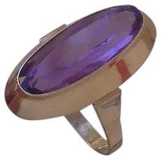 Art Deco 18K Rose Gold Ring Set w/ Long Amethyst, 4 Carats.