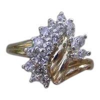 Ladies 14K Gold Ring Set w/ 16 Diamonds, 0.5 Ct. TDW.