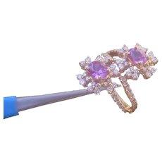 Beautiful  18K Gold H. Emperor Ladies Ring Set w/ 2 Pink Sapphires and 70 Diamonds. 2.49 Carat Total.