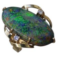 Interesting 9 Carat Opal Set In 18K Gold Ring.