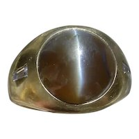 18K Gold Gents Ring w/ 8.2 Carat Chrysoberyl Cat's Eye