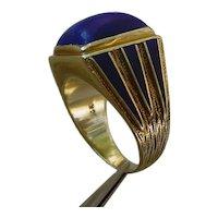 Interesting 14K Gold, Lapis Lazuli Ring.