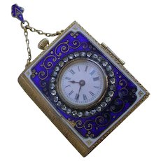 RARE Golay Fils & Stahl 18K Gold Book Form Pendant Watch, Hand Made 1880s Enamel, Diamonds