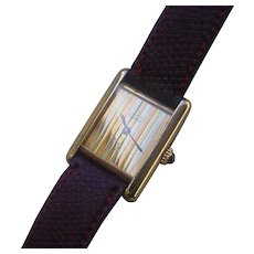 Vintage Ladies Cartier Tank Vermeil Case, 3 Gold Colors Dial, Mechanical Movement