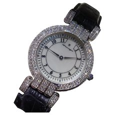 Harry Winston Inspired Big, 248 Diamonds Pave` Set, Gents Watch In 18K White Gold.