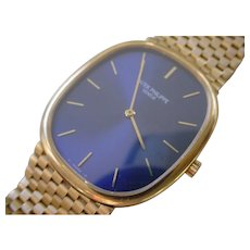 Gents Beautiful Patek Philippe Ellipse Ref. 3838/1  18K Gold Case & Bracelet. Blue Dial.