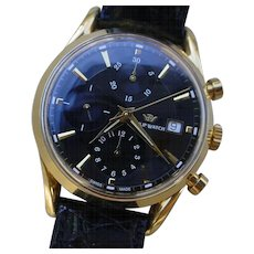 Gents 18KT Gold Philip Watch Automatic Chronograph, Exhibition Back.