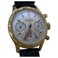 SUPER RARE! 18K Gold LeCoultre Chronograph w/ Valjoux 72 Movement.