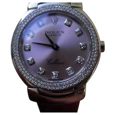 Ladies Rolex Cellini 6671 18K White Gold, Diamond Bezel, Diamond Dial.