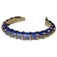 Tiffany & Co. Schlumberger 18K Gold & Enamel Croisillon Bangle Bracelet