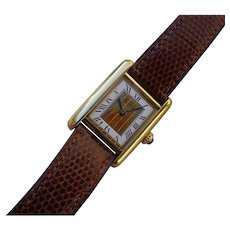 Vintage Ladies Cartier Tank Vermeil Case, Large Roman Numerals and 3 Gold Colors Dial, Quartz Movement