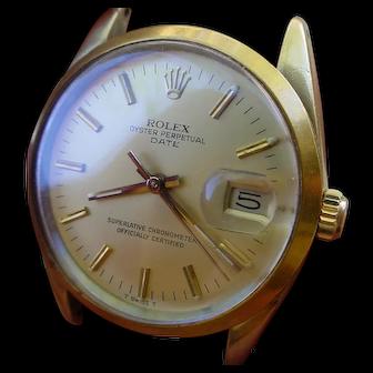 Rolex Date 15505, 14K Gold Shell Case, Quick Set